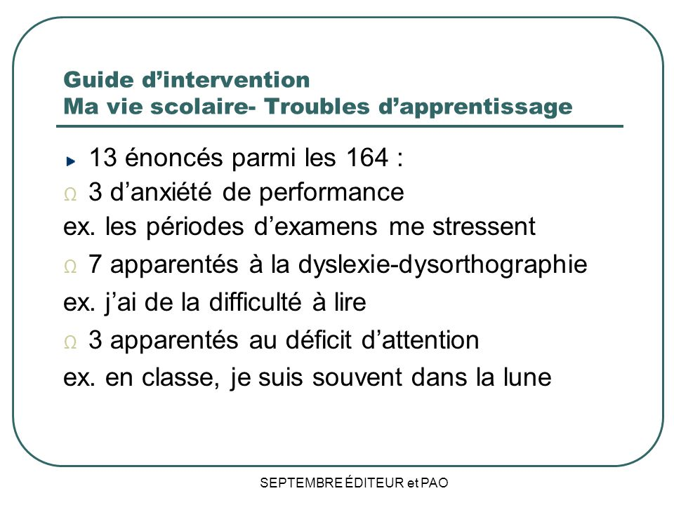 Guide d'intervention Ma vie scolaire- Troubles d'apprentissage