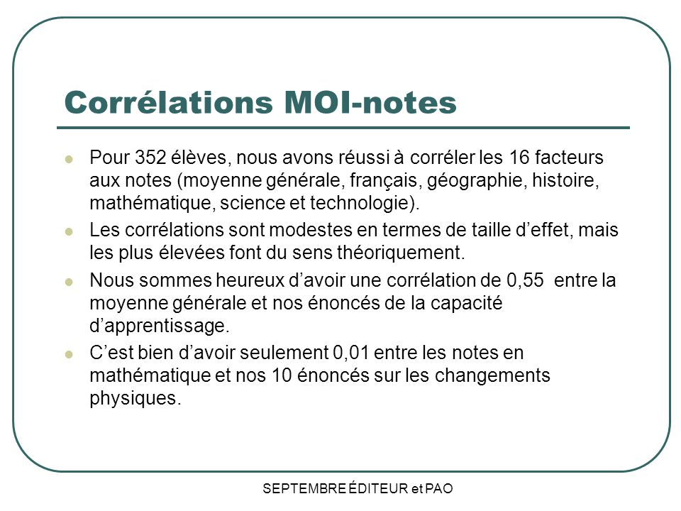Corrélations MOI-notes