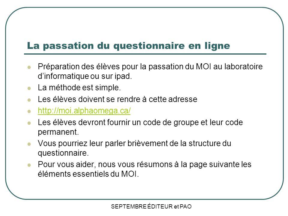 La passation du questionnaire en ligne