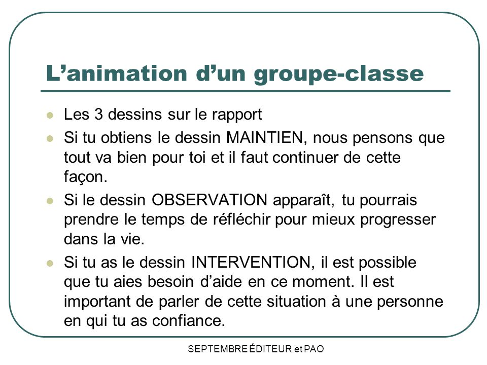L'animation d'un groupe-classe