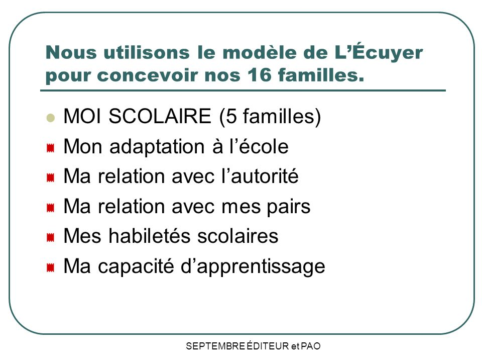 Nous utilisons le modèle de L'Écuyer pour concevoir nos 16 familles.