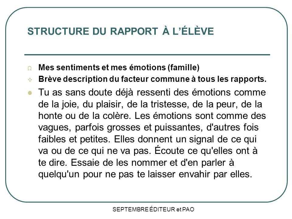 STRUCTURE DU RAPPORT À L'ÉLÈVE