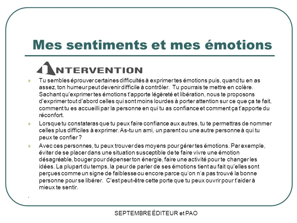 Mes sentiments et mes émotions