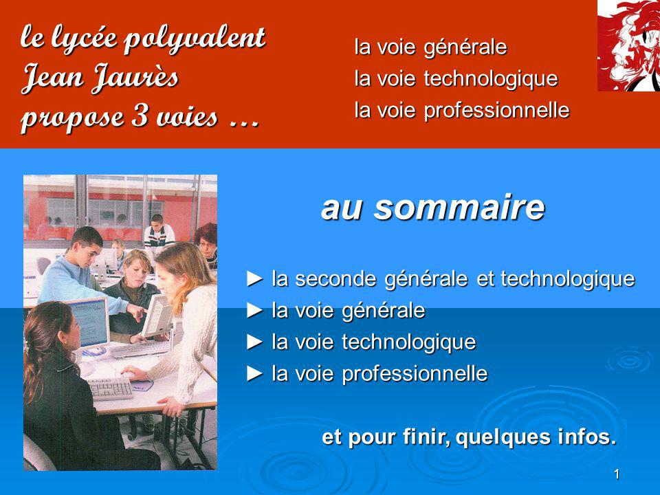 au sommaire le lycée polyvalent Jean Jaurès propose 3 voies …