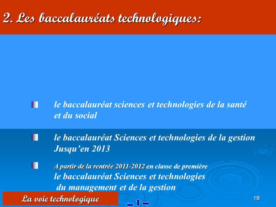 2. Les baccalauréats technologiques: