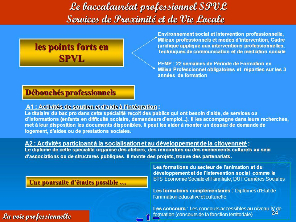 Le baccalauréat professionnel SPVL