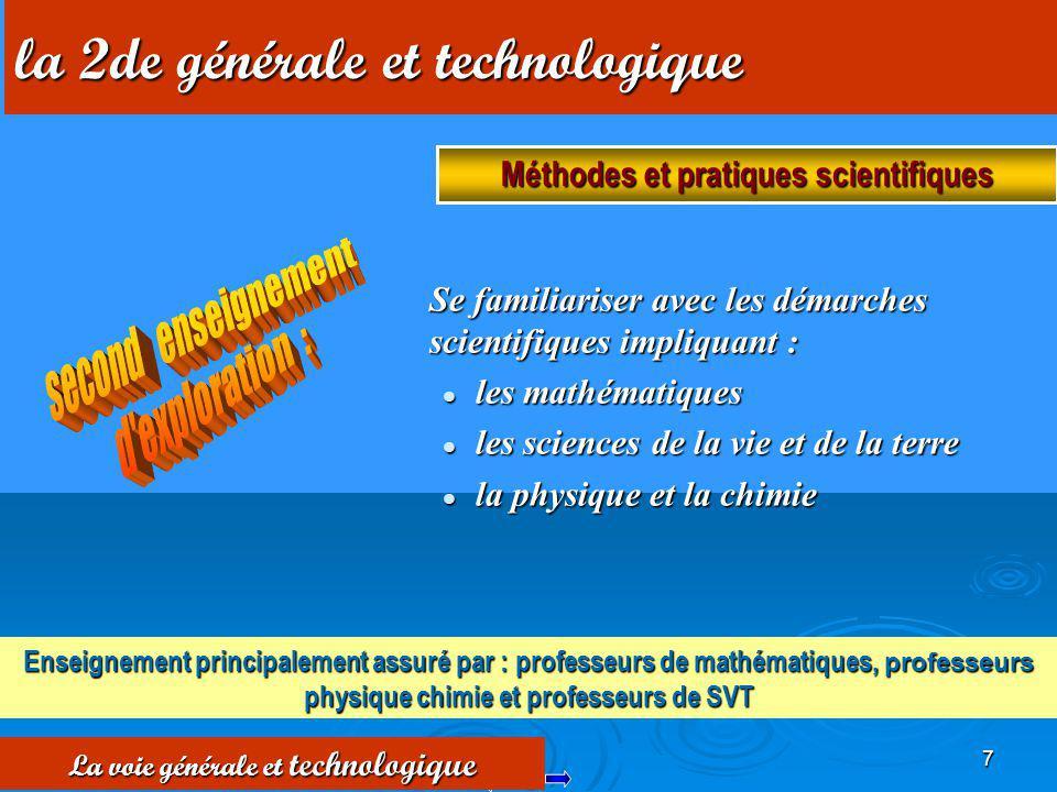 Méthodes et pratiques scientifiques La voie générale et technologique
