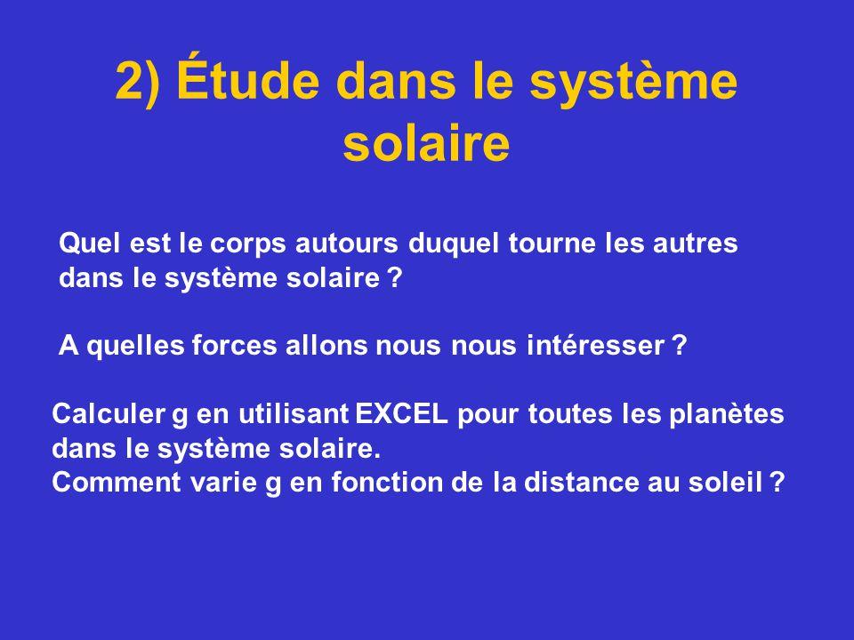 2) Étude dans le système solaire