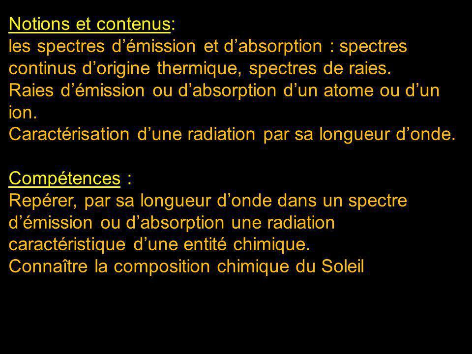 Notions et contenus: les spectres d'émission et d'absorption : spectres continus d'origine thermique, spectres de raies.