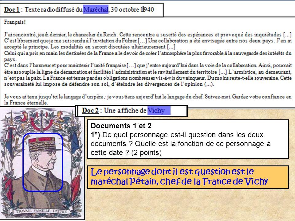 Documents 1 et 2 1°) De quel personnage est-il question dans les deux documents Quelle est la fonction de ce personnage à cette date (2 points)