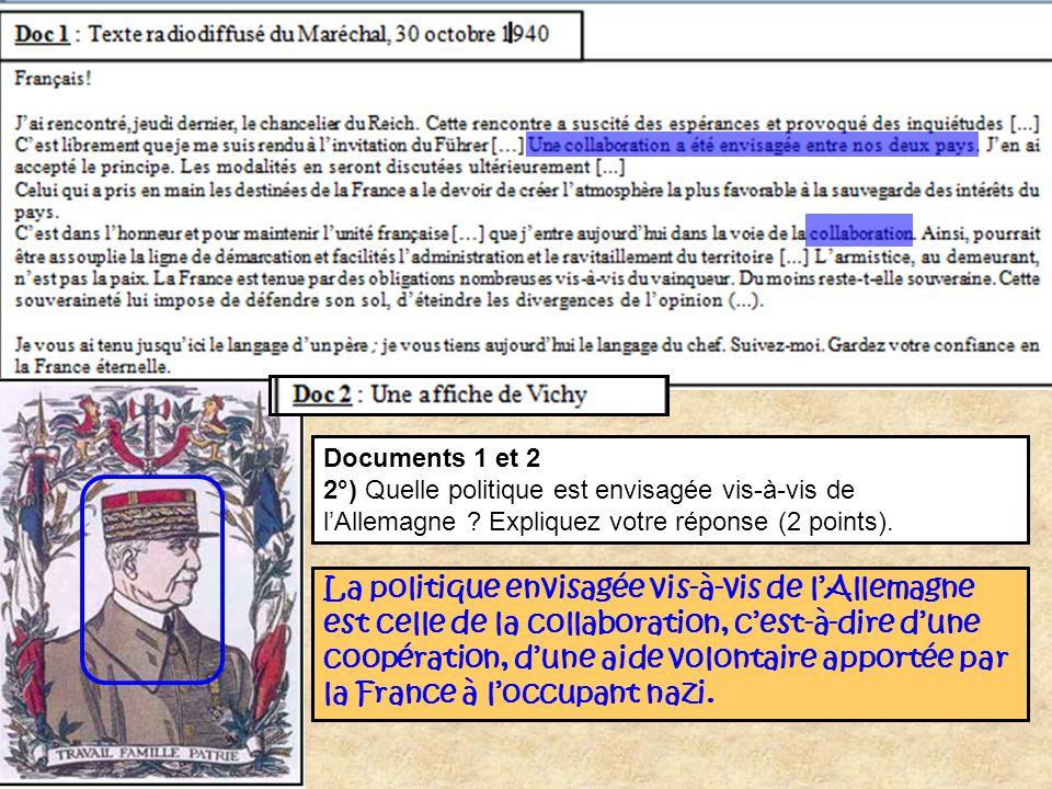 Documents 1 et 2 2°) Quelle politique est envisagée vis-à-vis de l'Allemagne Expliquez votre réponse (2 points).