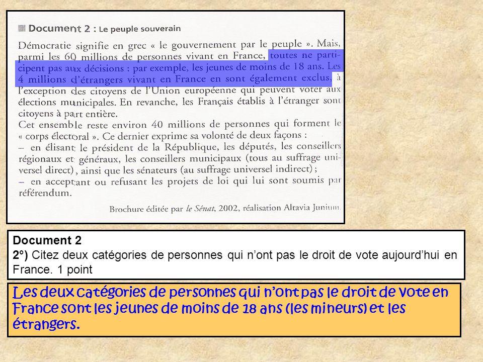 Document 2 2°) Citez deux catégories de personnes qui n'ont pas le droit de vote aujourd'hui en France. 1 point.