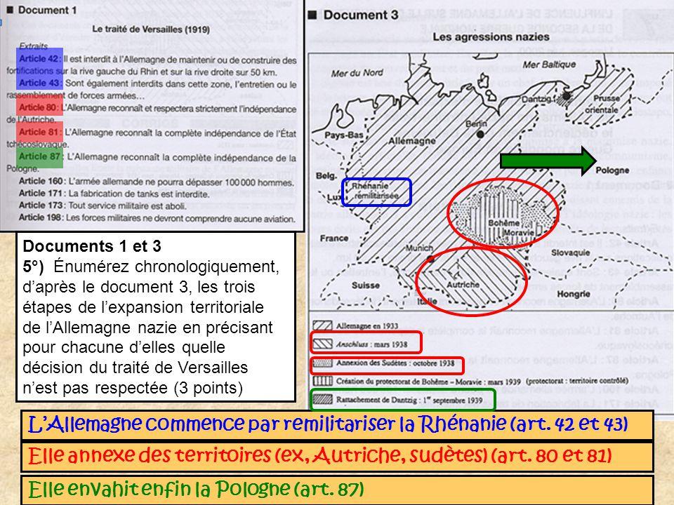 L'Allemagne commence par remilitariser la Rhénanie (art. 42 et 43)