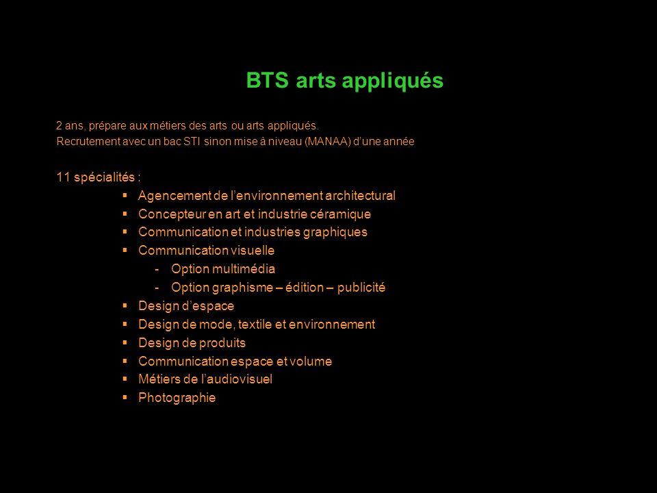 BTS arts appliqués 11 spécialités :