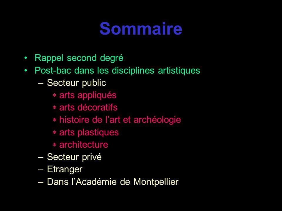 Sommaire Rappel second degré Post-bac dans les disciplines artistiques
