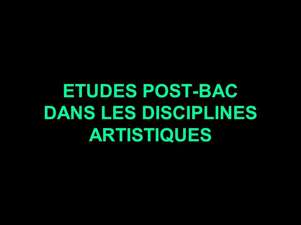ETUDES POST-BAC DANS LES DISCIPLINES ARTISTIQUES