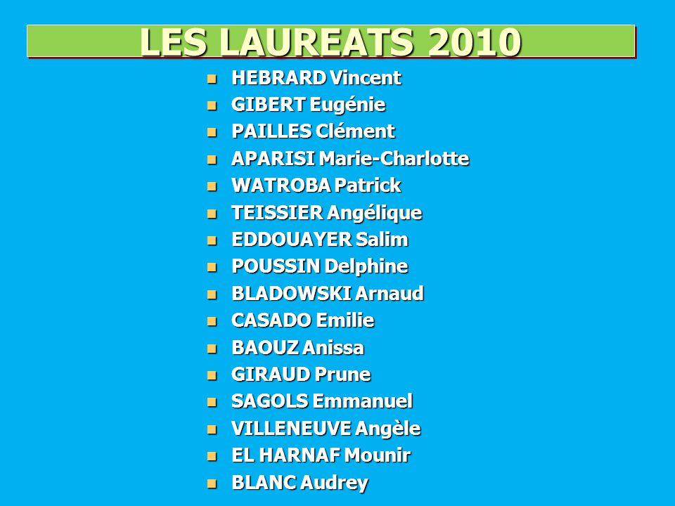 LES LAUREATS 2010 HEBRARD Vincent GIBERT Eugénie PAILLES Clément