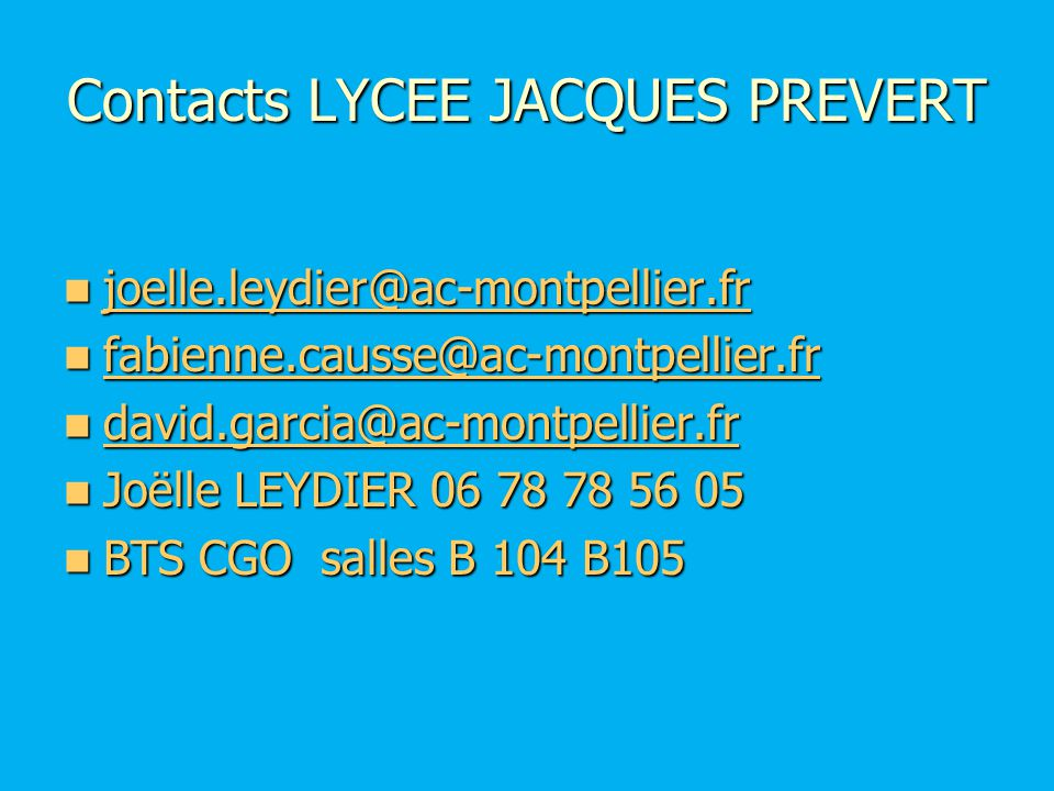 Contacts LYCEE JACQUES PREVERT