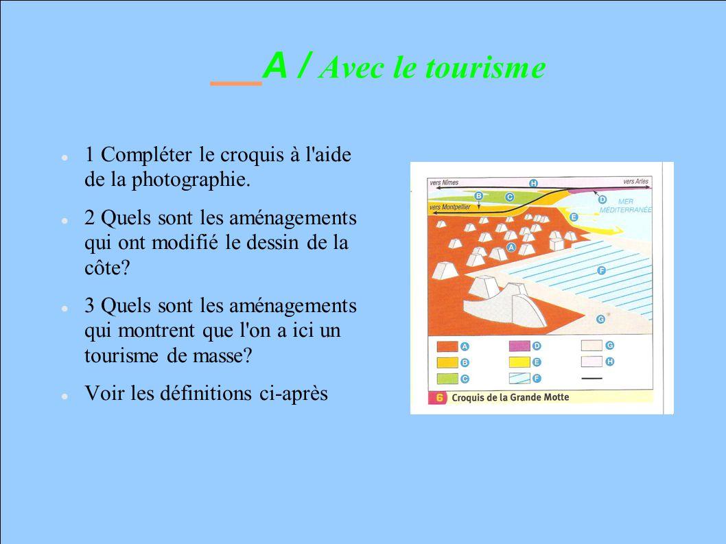 A / Avec le tourisme 1 Compléter le croquis à l aide de la photographie. 2 Quels sont les aménagements qui ont modifié le dessin de la côte