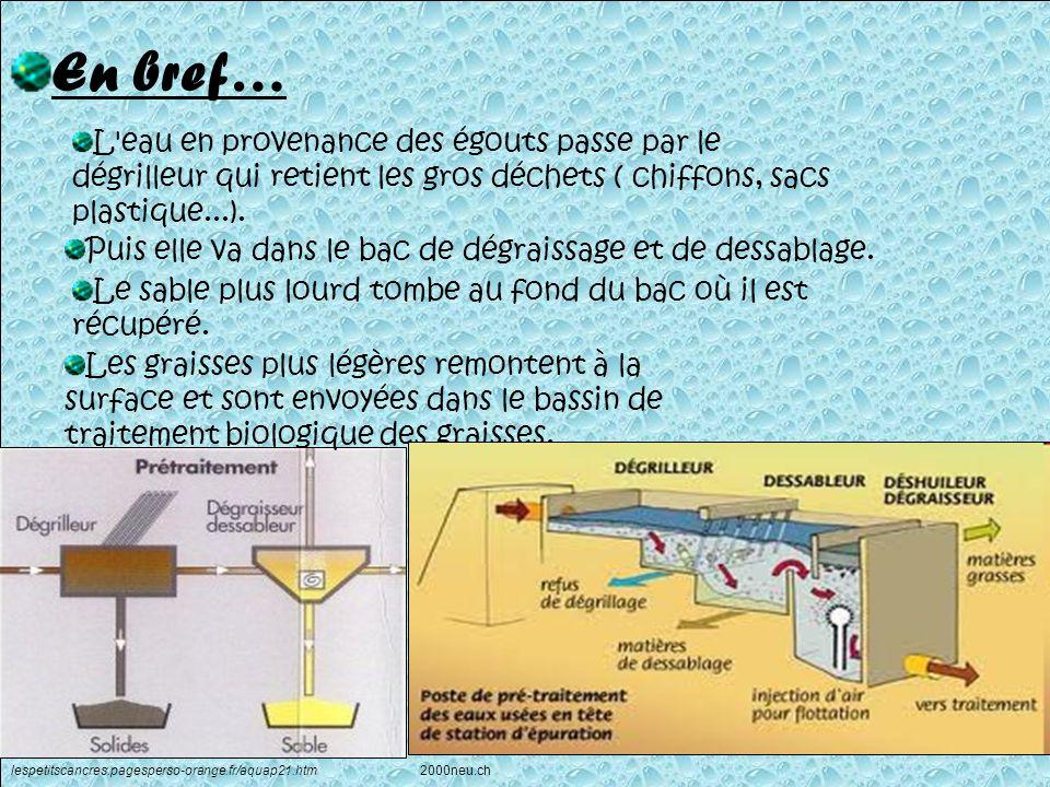 En bref… L eau en provenance des égouts passe par le dégrilleur qui retient les gros déchets ( chiffons, sacs plastique...).