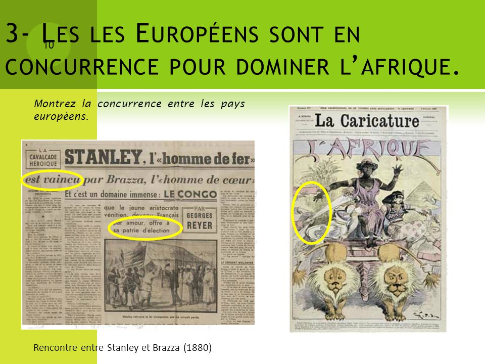 3- Les les Européens sont en concurrence pour dominer l'afrique.