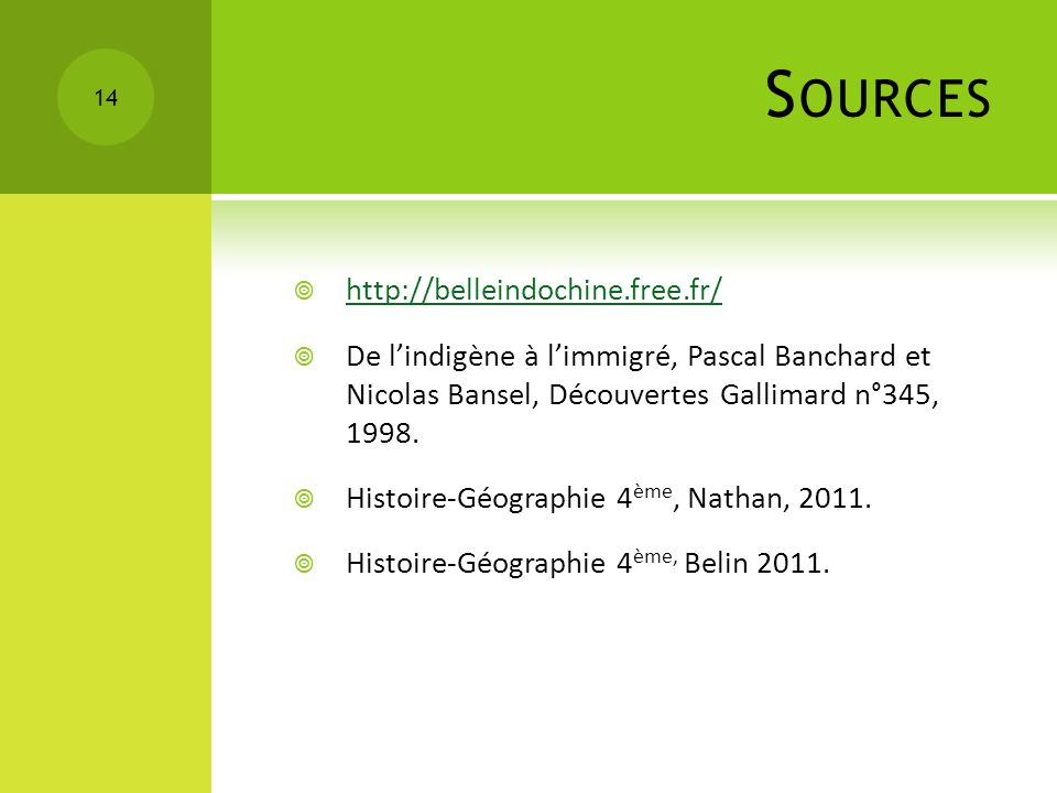 Sources http://belleindochine.free.fr/
