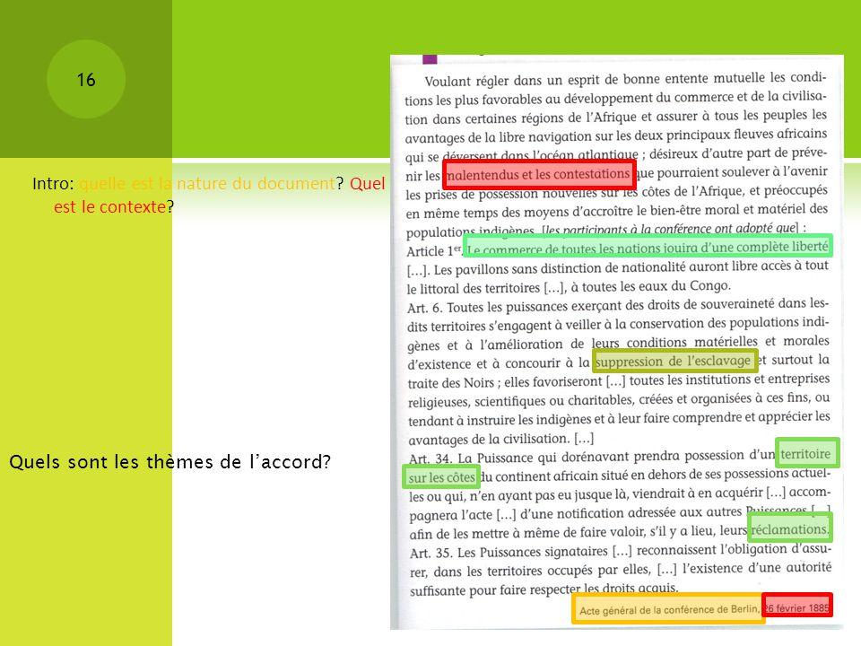 Intro: quelle est la nature du document Quel est le contexte