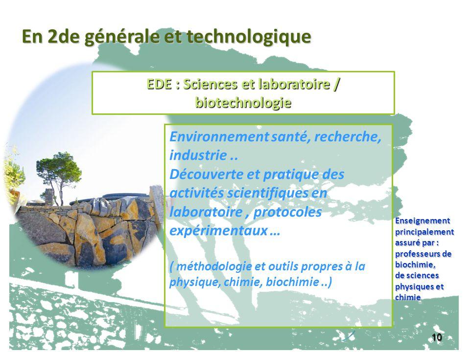 EDE : Sciences et laboratoire / biotechnologie