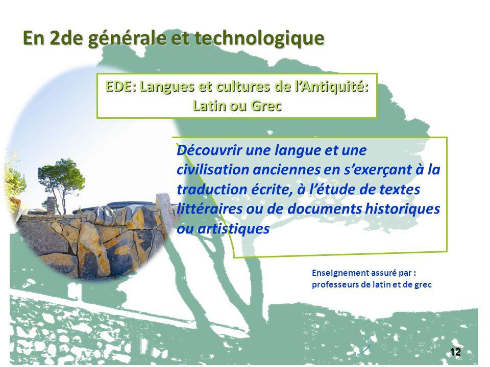 EDE: Langues et cultures de l'Antiquité: Latin ou Grec