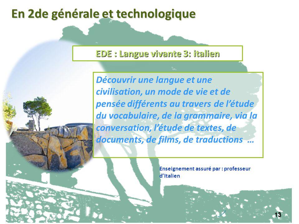 EDE : Langue vivante 3: italien