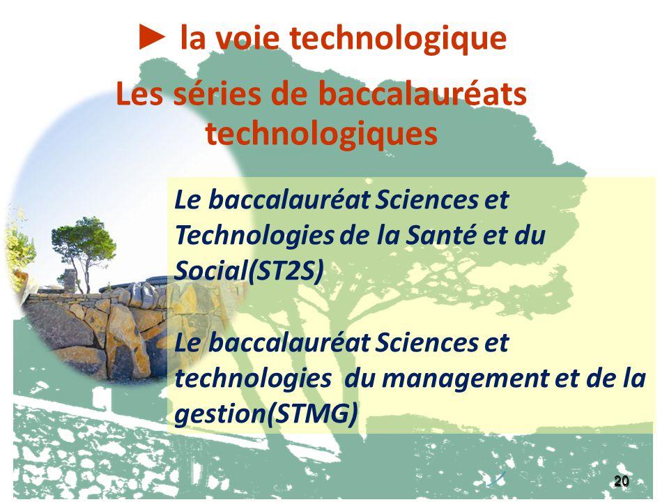 ► la voie technologique Les séries de baccalauréats technologiques