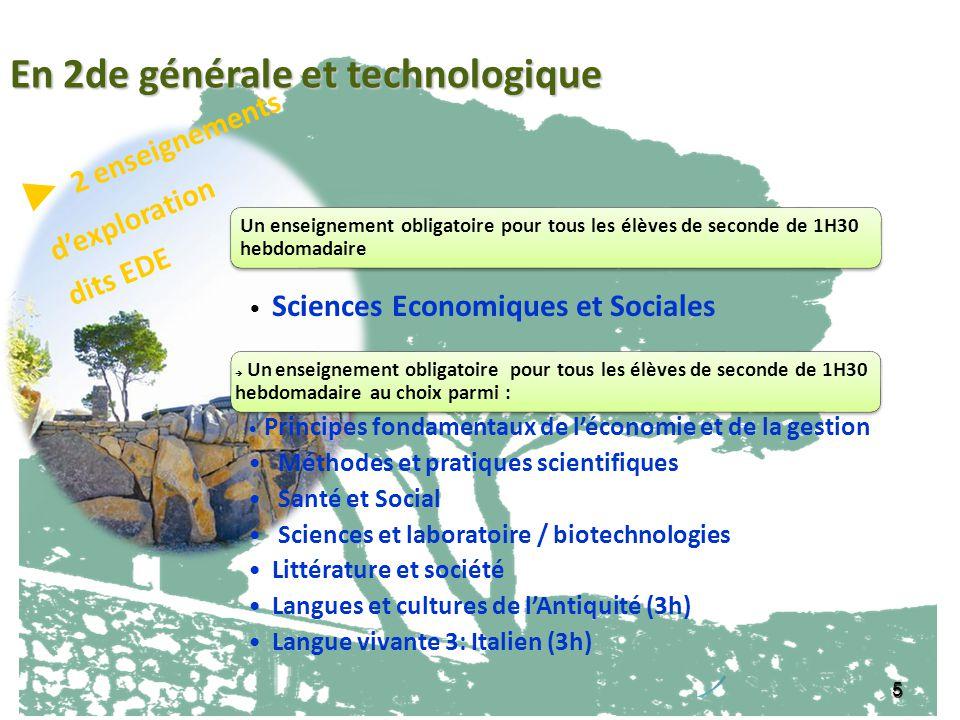 En 2de générale et technologique ► 2 enseignements