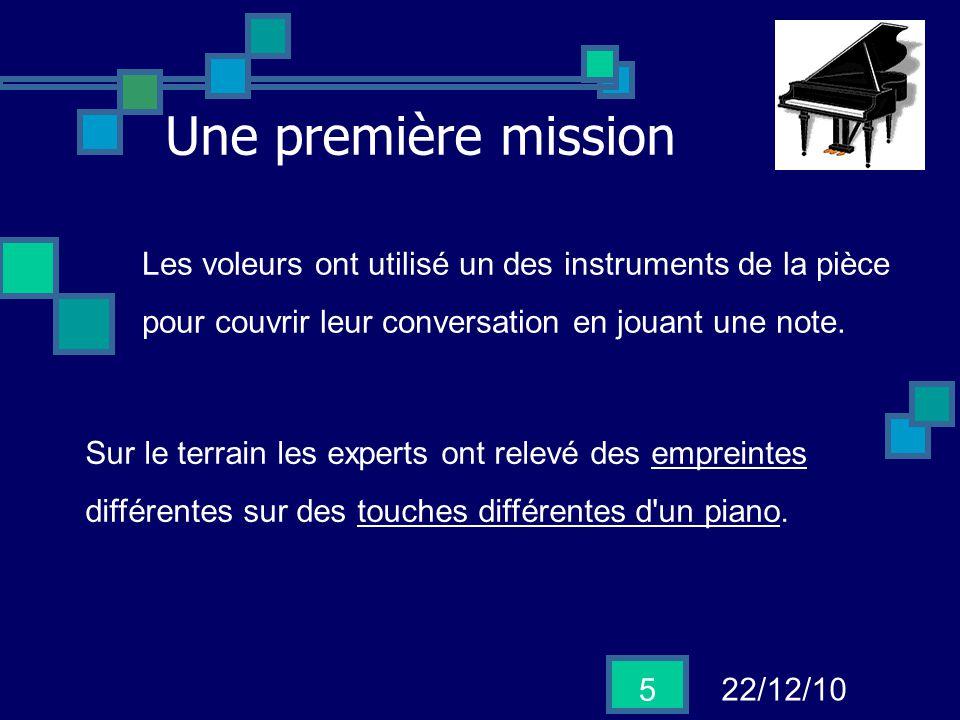 Une première mission Les voleurs ont utilisé un des instruments de la pièce. pour couvrir leur conversation en jouant une note.