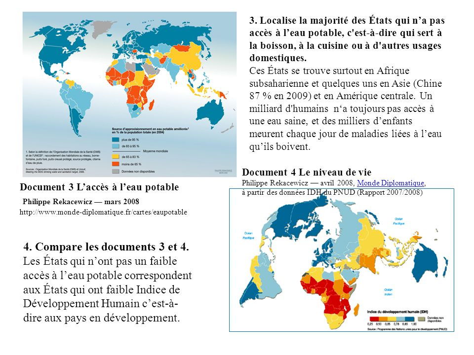 4. Compare les documents 3 et 4.