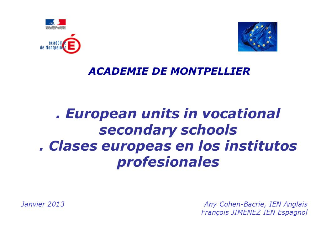 . European units in vocational secondary schools