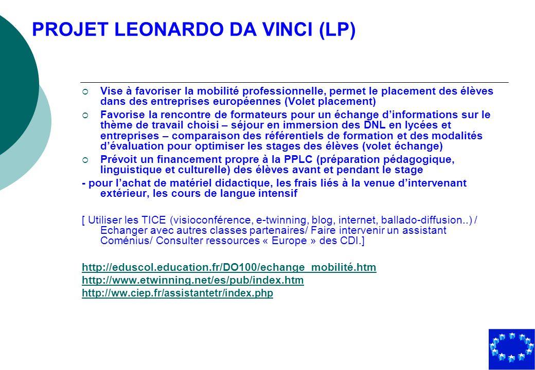 PROJET LEONARDO DA VINCI (LP)