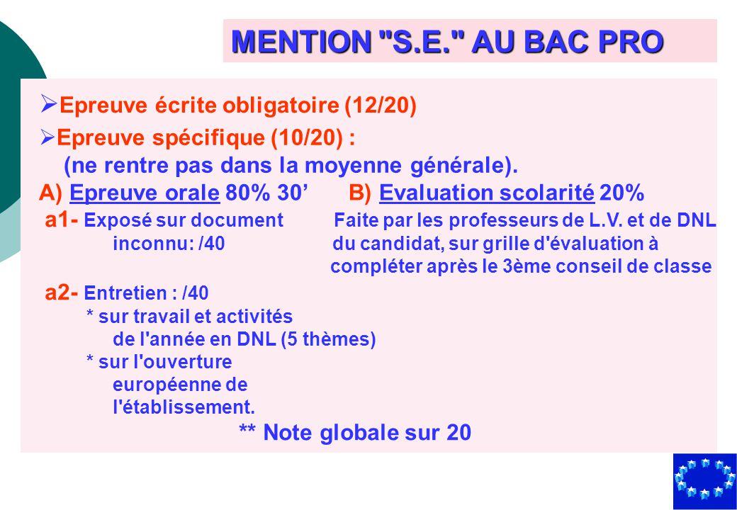 MENTION S.E. AU BAC PRO Epreuve écrite obligatoire (12/20)
