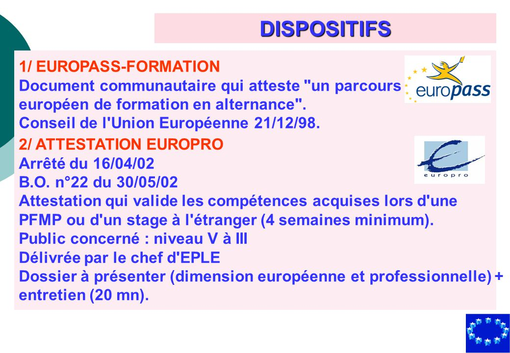 DISPOSITIFS 1/ EUROPASS-FORMATION