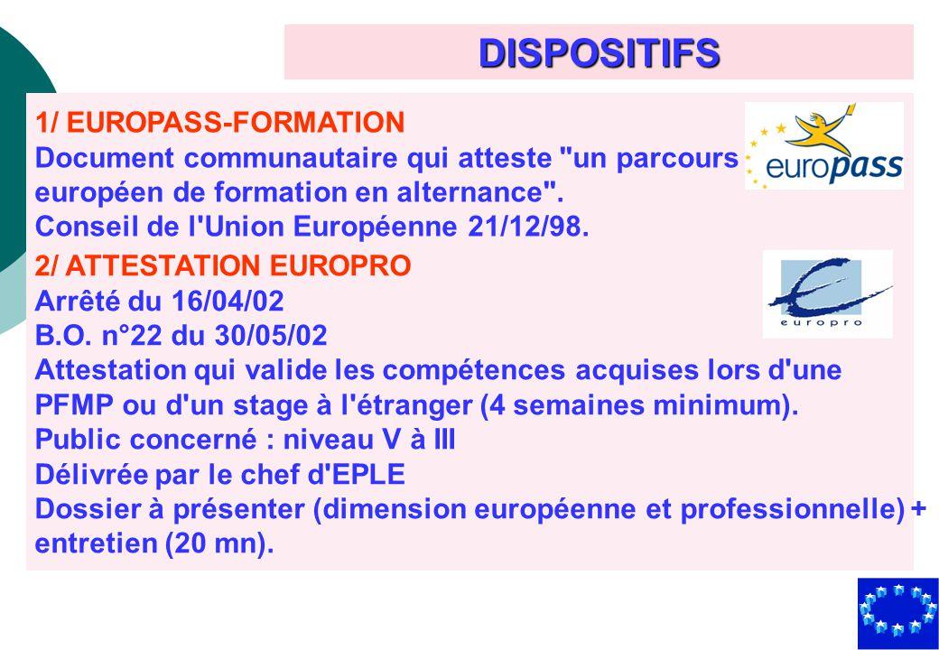 DISPOSITIFS 1/ EUROPASS-FORMATION