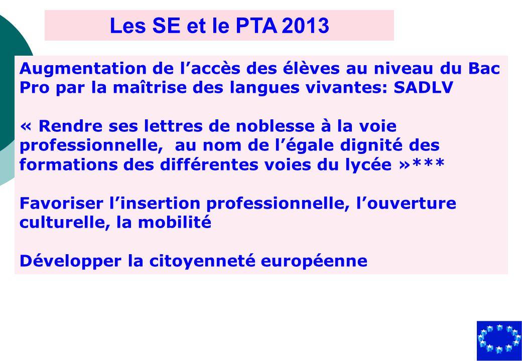 Les SE et le PTA 2013 Augmentation de l'accès des élèves au niveau du Bac Pro par la maîtrise des langues vivantes: SADLV.