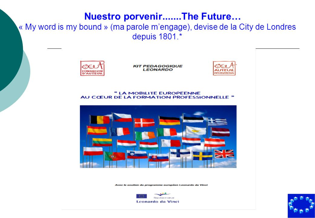Nuestro porvenir.......The Future… « My word is my bound » (ma parole m'engage), devise de la City de Londres depuis 1801.*