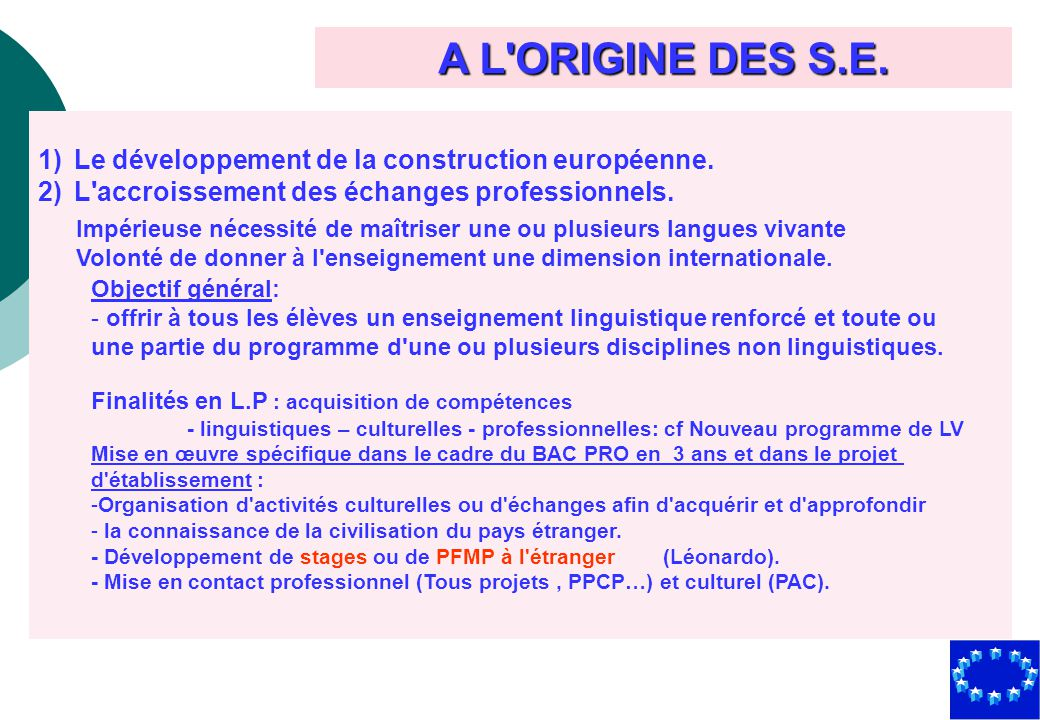 A L ORIGINE DES S.E. Le développement de la construction européenne.