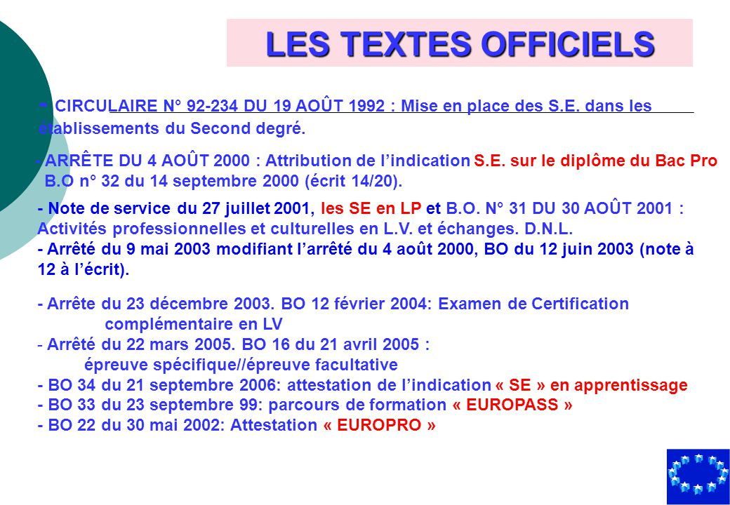 LES TEXTES OFFICIELS - CIRCULAIRE N° 92-234 DU 19 AOÛT 1992 : Mise en place des S.E. dans les. établissements du Second degré.