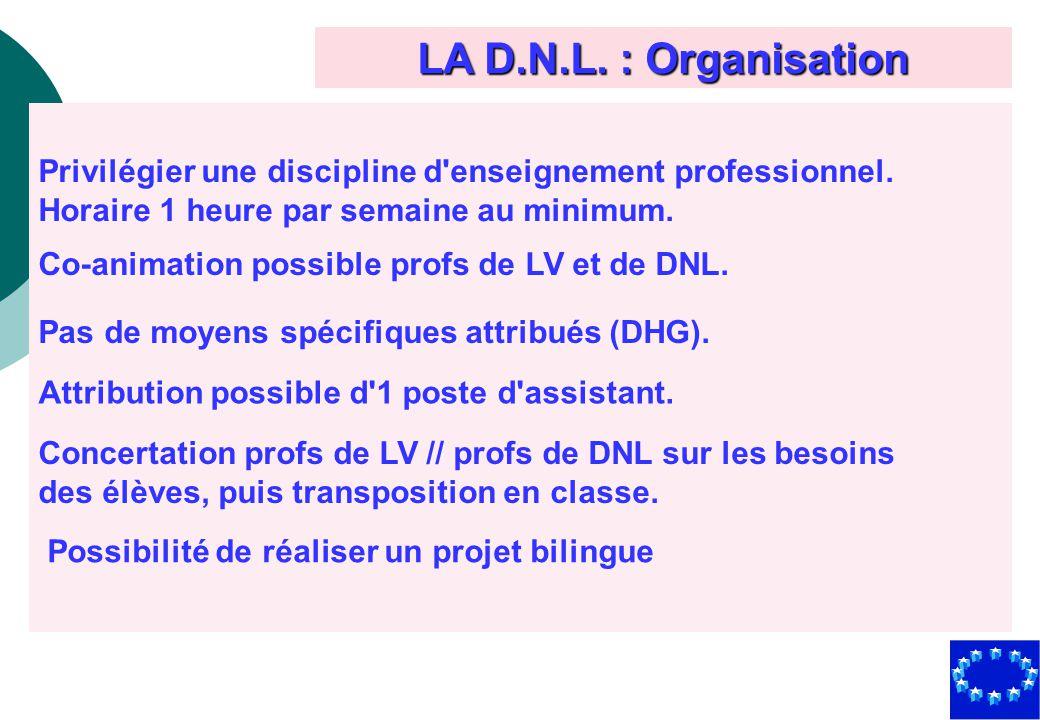 LA D.N.L. : Organisation Privilégier une discipline d enseignement professionnel. Horaire 1 heure par semaine au minimum.