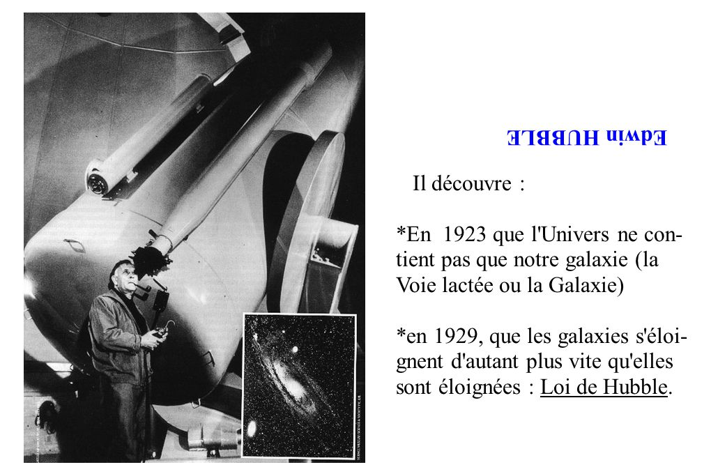 Edwin HUBBLE Il découvre : *En 1923 que l Univers ne con- tient pas que notre galaxie (la Voie lactée ou la Galaxie)