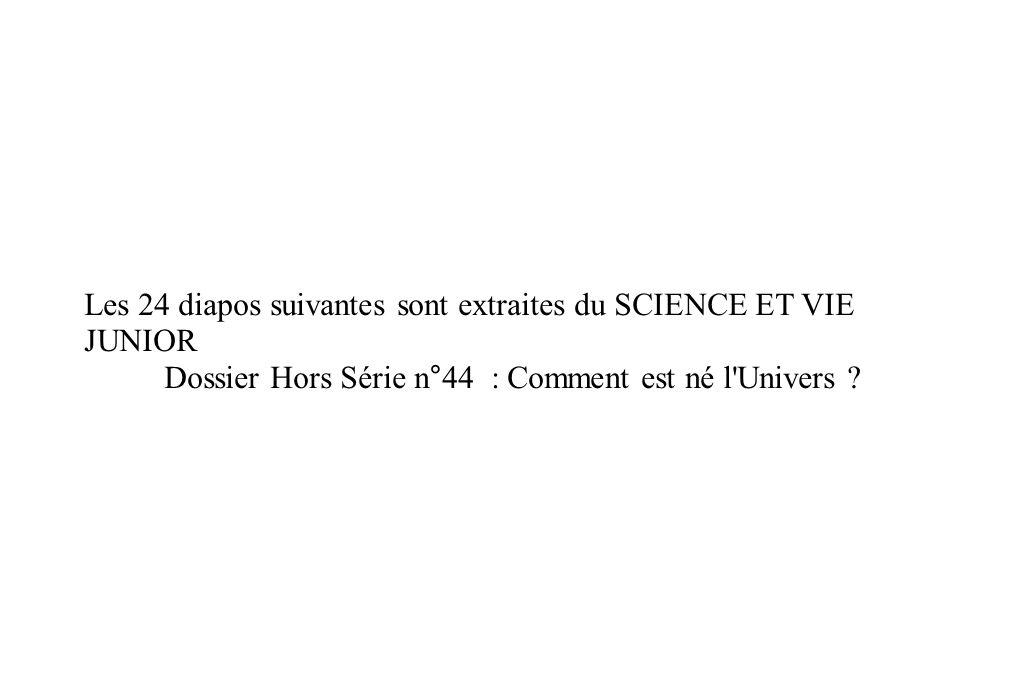 Les 24 diapos suivantes sont extraites du SCIENCE ET VIE JUNIOR