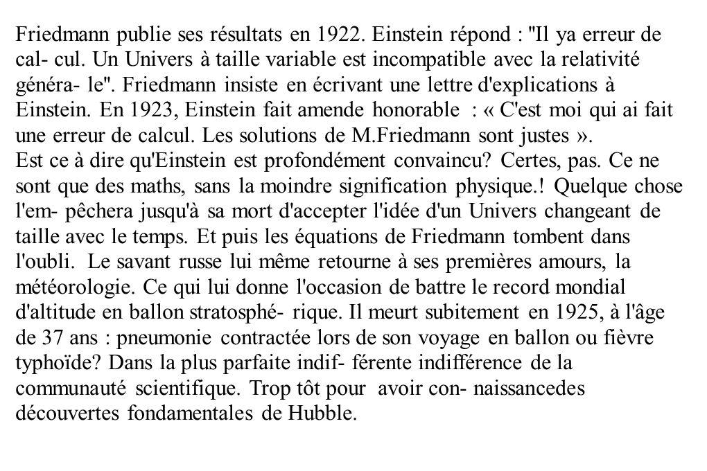 Friedmann publie ses résultats en 1922