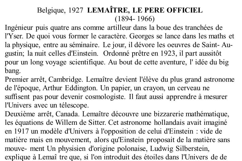 Belgique, 1927 LEMAÎTRE, LE PERE OFFICIEL