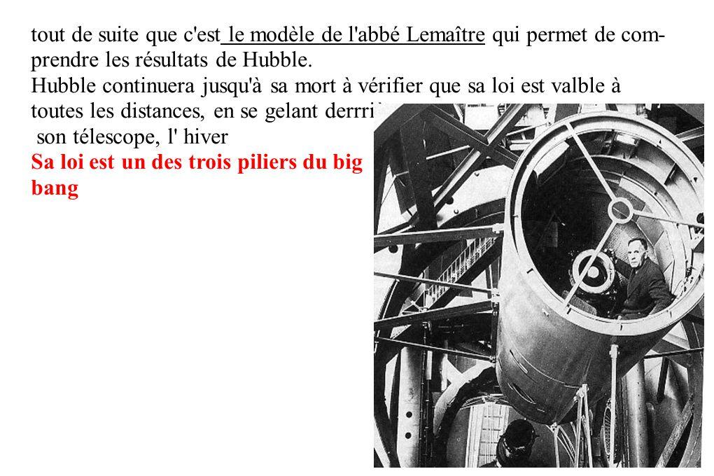 tout de suite que c est le modèle de l abbé Lemaître qui permet de com- prendre les résultats de Hubble.