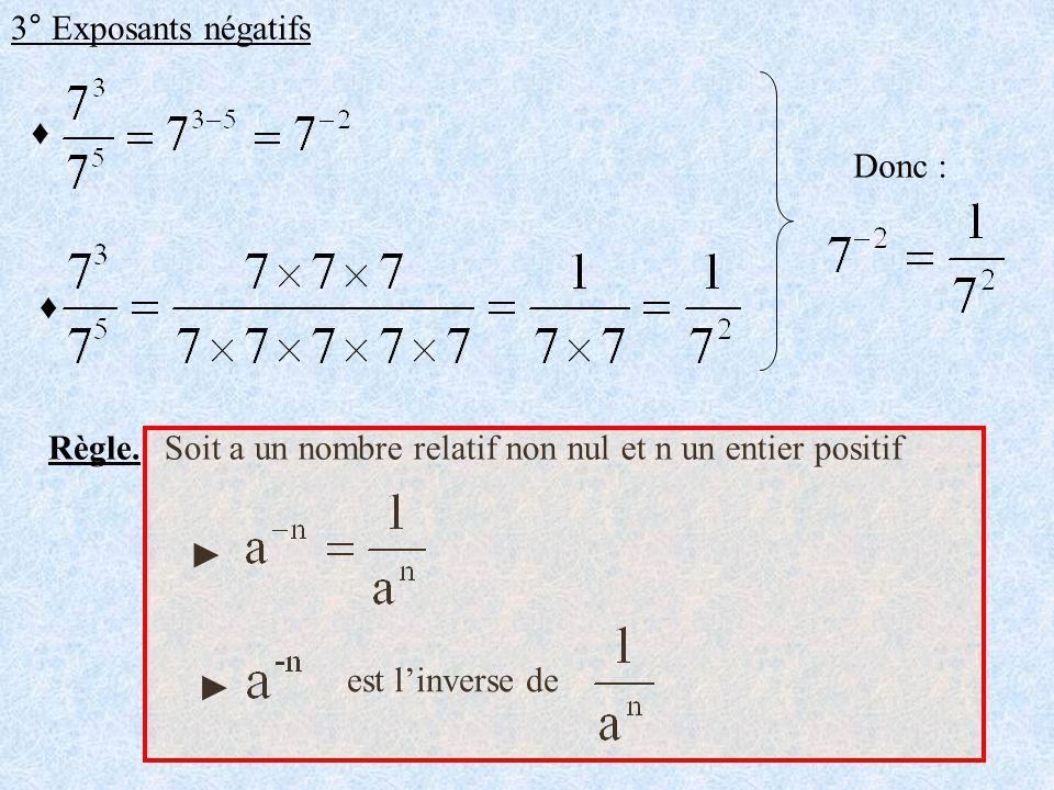 3° Exposants négatifs ♦ Donc : ♦ Règle. Soit a un nombre relatif non nul et n un entier positif.